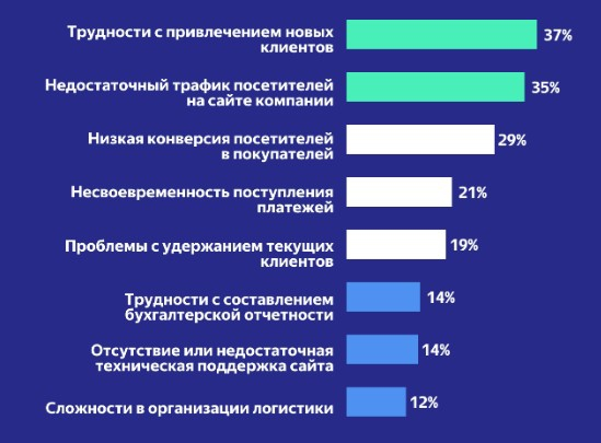 Опрос: онлайн-бизнес вРоссии страдает отнехватки новых клиентов